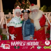 Margaret, Santa and Mrs Claus at the America pavillion in Epcot